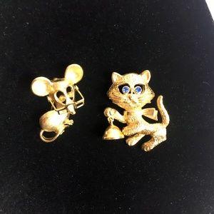 AVON Set Cat & Mouse Pins Brooches Rhinestone Eyes